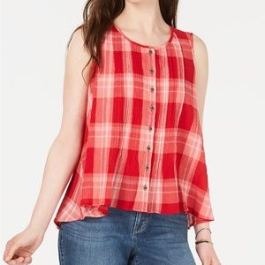 Style & Co Red Cotton PETITE SMALL TOP BLOUSE. NWT